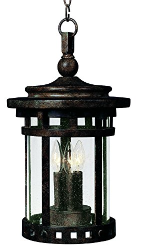 Maxim 40039CDSE Santa Barbara VX 3-LT Outdoor Hanging Lantern, Sienna Finish, Seedy Glass, CA Incandescent Incandescent Bulb , 60W Max., Damp Safety Rating, Standard Dimmable, Frosted Glass Shade Material, Rated Lumens