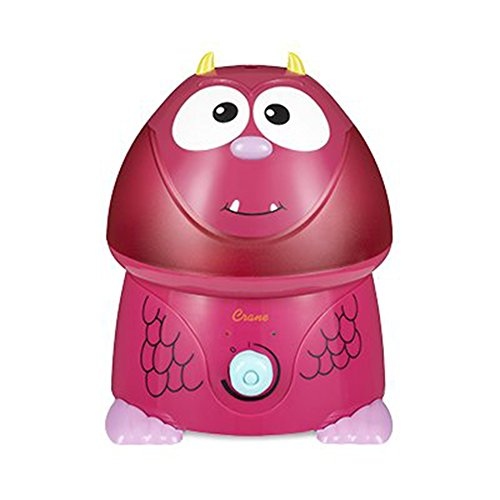 Crane USA Filter-Free Cool Mist Humidifiers for Kids, Pink Monster