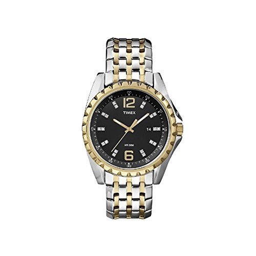 (Timex T2P271 WR50M Quartz Stainless Steel Two Tone Black Dial Dress Men's Watch)