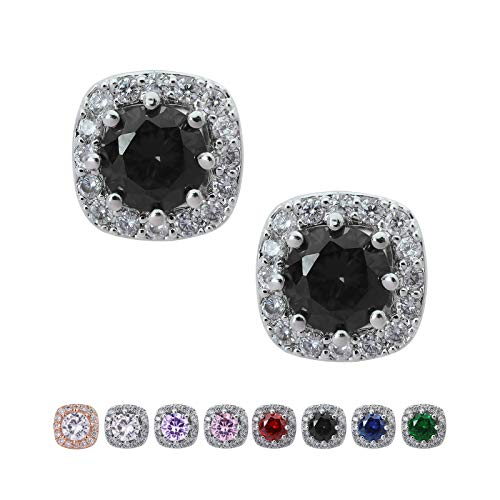 SWEETV Cubic Zirconia Stud Earrings for Women, Girls-Cushion CZ Rhinestone Hypoallergenic Earrings for Wedding, Prom, Daily Wear,Jewelry Gifts,Black