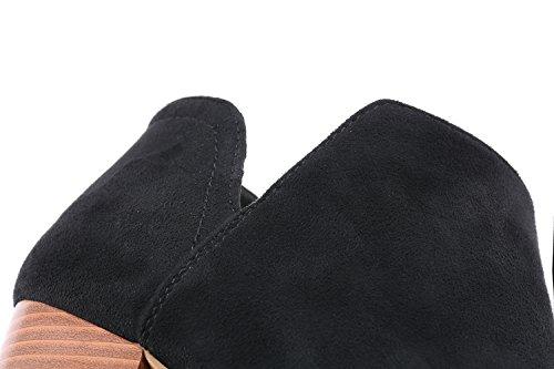 Fisace Mujeres Slip On Cutout Peep Toe Bloque Grueso Tacones Apilados Botines Botas Negro