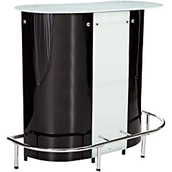 1-shelf Bar Unit with Frosted Glossy Black, Glossy White, Clear and Chrome