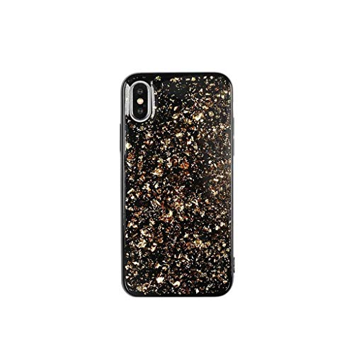 Platinum Sequin Glitter Epoxy Soft Case for iPhone Xs MAX XR X 6 6S 7 8 Plus Protector Phone Cases Shell for XS MAX,Gold,for iPhone X ()