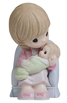 Precious Moments Seated Mother Kissing Infants Head Figurine