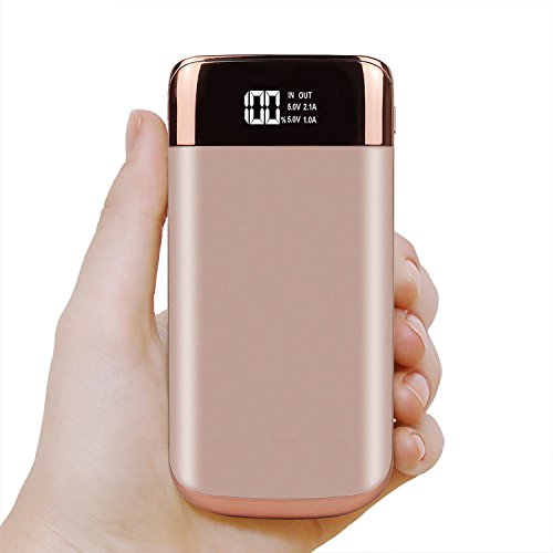 M.E.R.A. 50000mah Power Bank, Portable LCD, 2 USB, LED Screen, Battery Charger For Mobile Phone, Black, Gem Blue, Rose Gold Power Bank. (Pink)