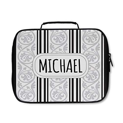 Nylon Insulated Lunch Box Custom Scroll 3 Pattern Grey Black adults Food Bag