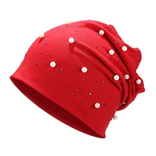 SUNyongsh Women Stretch Headgear Pure Color Pearl Head Scarf Wrap Hat Cap Pearl Braid Hat Head Scarf Headwrap