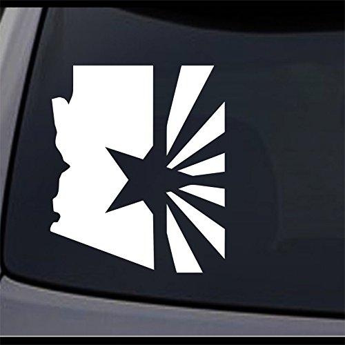 JCM Custom Arizona State Map Flag, AZ Home State Permanent Vinyl Decal, Auto Decorative Stickers, 4Lx3.3W, 2 Pcs -