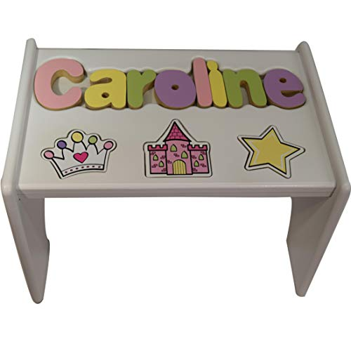 Personalized Princess Wooden Puzzle Stool- Stool Color: White, Letter Color: Pastel, 1-8 Letters