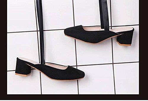 Goma Cuadrada de Sandalias Profundas Adulto Grueso de Gamuza 3 Hembras Cerrojo Zapatos Moda Aumento 5Cm Tacón Visc Correas Zapatos Talón Sandalias Retro Cabeza Tacón Hadas de Poco de Salvajes Áspero Hq6Sddfzw