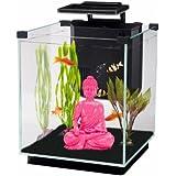 Penn Plax Simplicity Aquarium Kit Glass Cube Filter 3 Color Touch Control LED Light