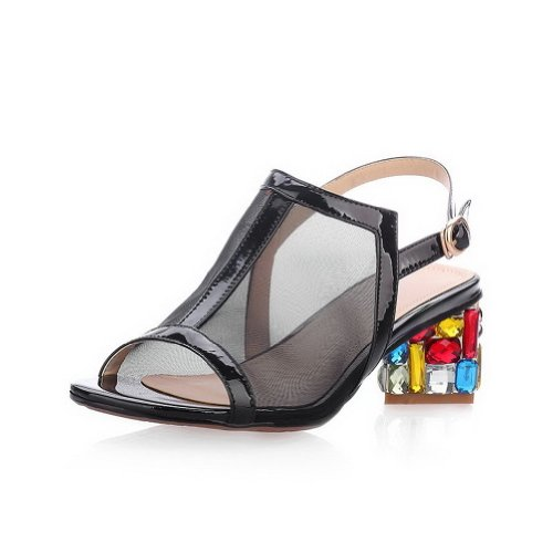WeenFashion Womens Open Leather Toe Kitten Heel Cow Leather Open Patent Leather Solid Sandals with Glass Diamond, Black, 5... B00KJ68QBU Parent fa8e30