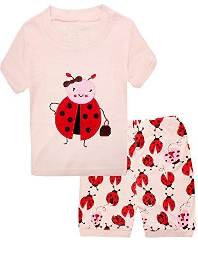 "Dolphin&Fish Little Girls ""Ladybug"" Cotton 2PCS Short Pajamas Toddler Kids Pjs Size4"