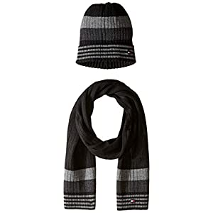 Tommy Hilfiger Men's Hat and Scarf Set, Black/Charcoal, One Size