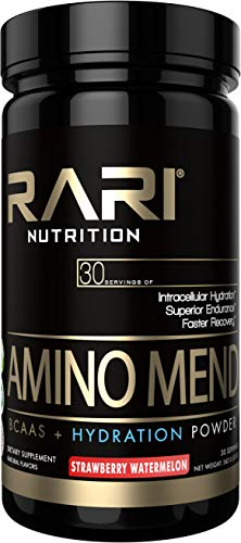 RARI Nutrition - AMINO MEND - 100% Natural BCAA Powder - Essential Amino Acids - Vegan and Keto Friendly - Endurance and Hydration - Pre | Intra | Post Workout - 30 Servings (Strawberry Watermelon)
