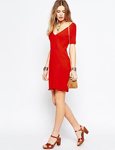 PU&PU Robe Aux femmes Gaine Sexy,Couleur Pleine Col en V Mini Polyester , red-m , red-m