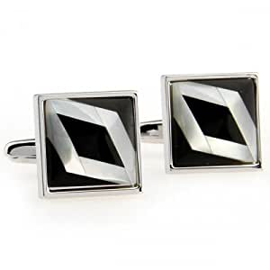 Black And White Enamel Cufflinks