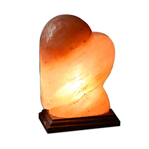"Heart Himalayan Salt Lamp Large 8"" Hand Made Shaped 8-10 LB With 6Ft Dimmer Cord , JIC Gem"