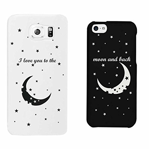 365 Printing I Love You to the Moon and Back Black and White Matching Couple Phone Cases Christmas Gifts His Galaxy S6 Hers iPhone 4