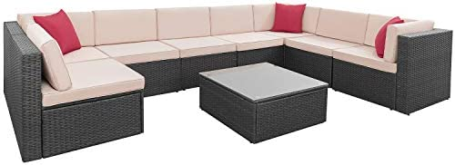 9 Pieces Patio Furniture Sectional Set Outdoor All-Weather PE Rattan Wicker Lawn Conversation Sets Cushioned Garden Sofa Set with Glass Coffee Table ...