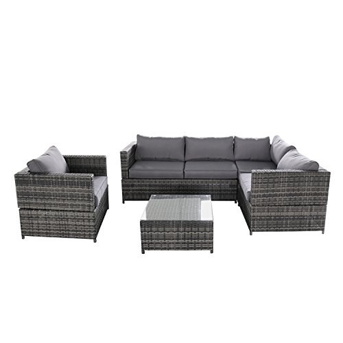 Magari Furniture SJ-15125 Complete 4 Piece PE Wicker Rattan Pool Outdoor Patio Garden Set with Cushions, Grey