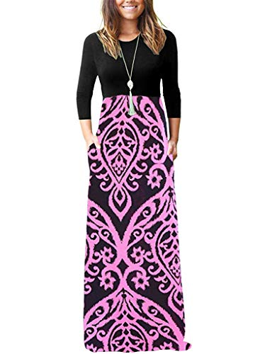 OURS Contrast 3/4 Sleeve Floral Print Long Maxi Dress High Waist Dresses with Sleeves (Pink