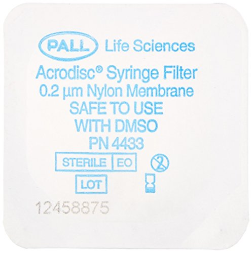 Pall 4433 Acrodisc Syringe Filter with DMSO Safe Membrane, 25 mm Diameter, 0.2 um Pore Size, Sterile by Pall