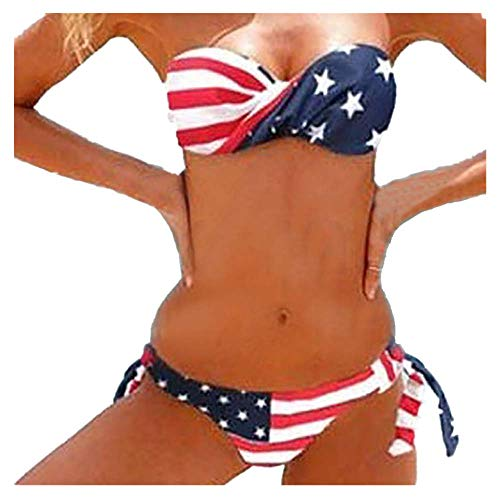 Womens American Flag Print Twist Bandeau Bikini Set Two Piece Low Rise Tie Side Swimsuit (L, Blue)