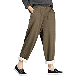 Mordenmiss Women's New Elastic Solid Harem Pants with Side Pockets