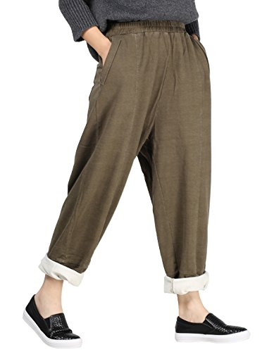 Mordenmiss Women's New Elastic Solid Harem Pants with Side Pockets (L,Army Green)