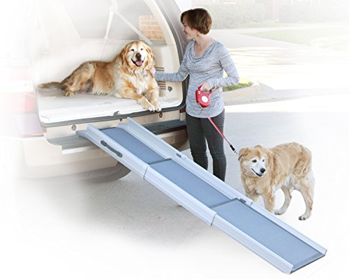 PetSafe Solvit Deluxe Tri-Scope Telescoping Pet Ramp or Carrying Case, 28 in. – 70 in., Portable Lightweight Aluminum Dog Ramp
