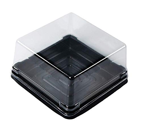 Mini Cake Boxes (Cake Box - 50 sets 4 inch X H 2-1/8 inch Clear Plastic Mini Cake Box - Feast Cupcake Box - Muffin Box Biscuit Box Flat Top Box Bakery Cake)