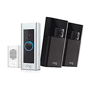 Ring Home Security Kit with Ring Doorbell Pro, 2 Ring Stick Up Cams, and Ring Chime