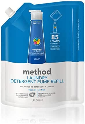 Method Laundry Detergent Refill for Pump Bottles, Fresh Air, 34 Ounce, 85 Loads