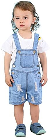 Kidscool Baby & Toddler Girls/Boys Big Bibs Ripped Hole Summer Jeans Short