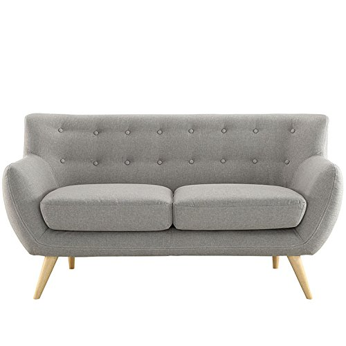 Modway Remark Mid-Century Modern Loveseat With Upholstered Fabric In Light Gray