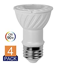 Par16 Led 3000k Dimmable Soft White Glow 7.5w 75 Watts Equivalent Spot Light Bulb E26 500lumen 4Pack - 120v Ul-listed and Energy Star
