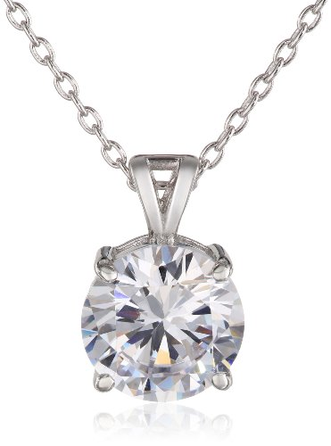 Charles Winston Sterling Silver 9mm Round Cubic Zirconia Pendant Necklace, 18