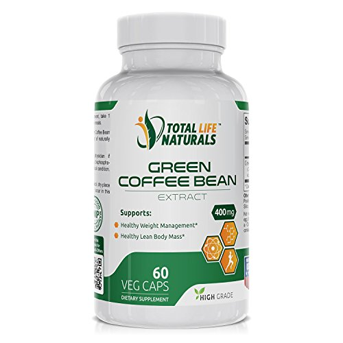 Pure Green Coffee Bean Extract Pills with 50 Chlorogenic Acid per Vegetarian Capsule Natural Weight Loss Support for Men and Women Made in the USA by Total Life Naturals