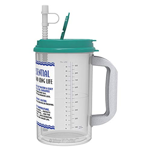 (32 Oz W.E. Insulated Cold Drink Mug with Teal Lid and straw cap)