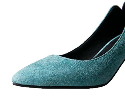 Allhqfashion Womens Frosted Closed-teen Kitten-hakken Assorti Kleur Pumps-schoenen Blauw