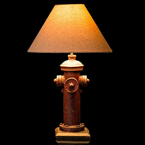 Glitzhome 21.65''H Table Lamp-Farmhouse Rustic Design,Traditional Elegant Polyresin Hydrant and Wooden Base with Neutral Lampshade & Soft,Ambient Lighting Perfect for Living Room,Office