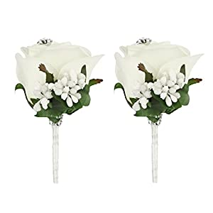 FAYBOX Wedding Prom Velvet Rose Rhinestone 2Pcs Boutonniere With Silvery Ribbon Stretch Bracelet (2Ivory) 88