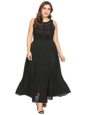 Zeagoo Plus Size Womens Retro Lace 1920'S Classic Style Pleated Sleeveless Party Maxi Dress