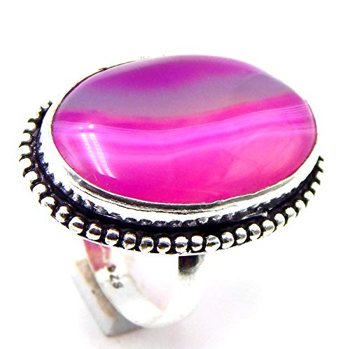 Pratik-Jewel Botswana Agate 925 Sterling Silver Plated Handmade Jewelry Ring US Size 8.25''