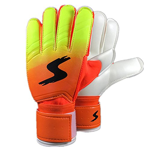 Gift, Ikevan A Pair Goalkeeper gloves Roll Finger Soccer Goalie Gloves for Soccer Player (Orange, 8 Number)