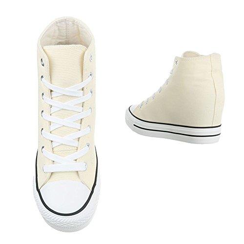 para Mujer de Store Beige Blanco Zapatillas Lona HxqvXRI