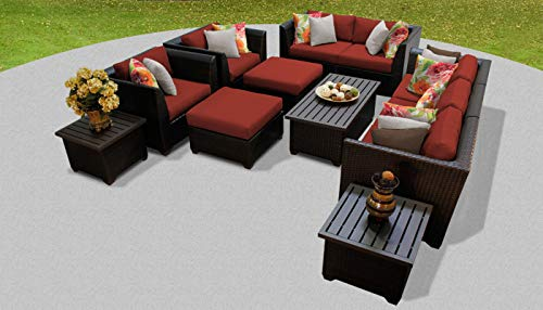 TK Classics 12 Piece Barbados-12D Outdoor Wicker Patio Furniture Set, Terracotta from TK Classics