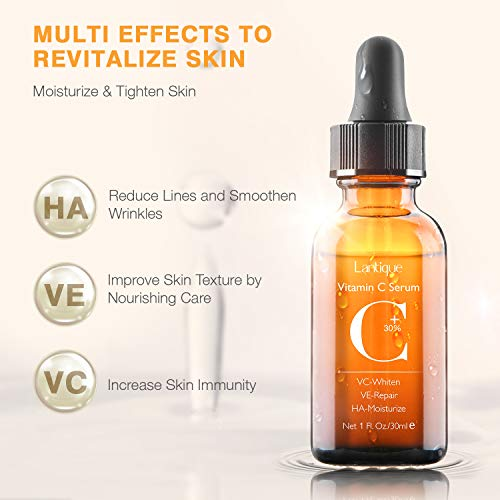 41NaXHT4xGL - 30% Vitamin C Serum with Hyaluronic Acid & VE for Face,Neck and Eye Treatment Serums | Anti-Aging, Anti-Wrinkle,Instant Moisturizers,Whitening Dark Spots Facial Serum Fits All Skin Type(1 fl.oz)