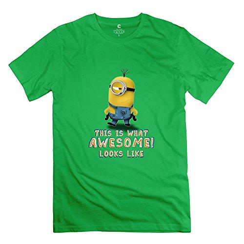 Jiuzhou New Design Cartoon Awesome Minion T-shirt - Men's T-shirts Size S ForestGreen